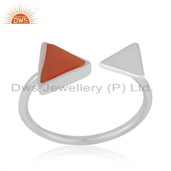 925 Sterling Silver Red Onyx Gemstone Triangle Ring Manufacturer of Jewellery
