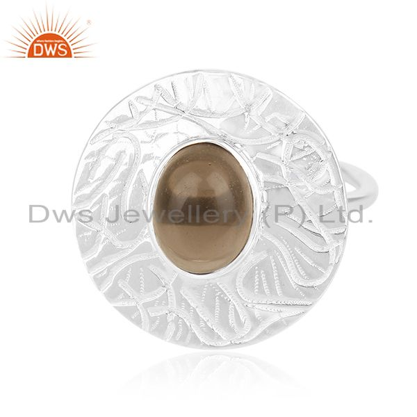 Designer 925 Sterling Silver Smoky Quartz Cocktail Ring For Womens