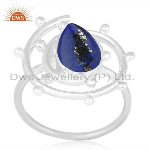 Lapis Lazuli Gemstone Sterling Silver Cocktail Ring Manufacturer of Jewellery