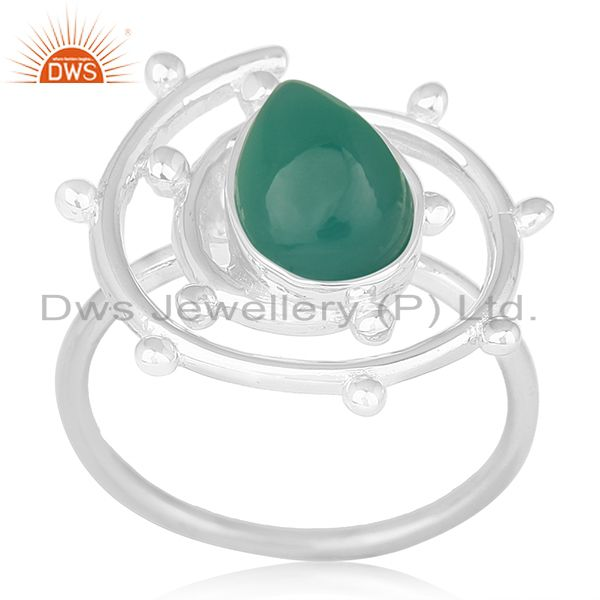 Green Onyx Gemstone 925 Sterling Silver Indian Handmade Ring Manufacturer