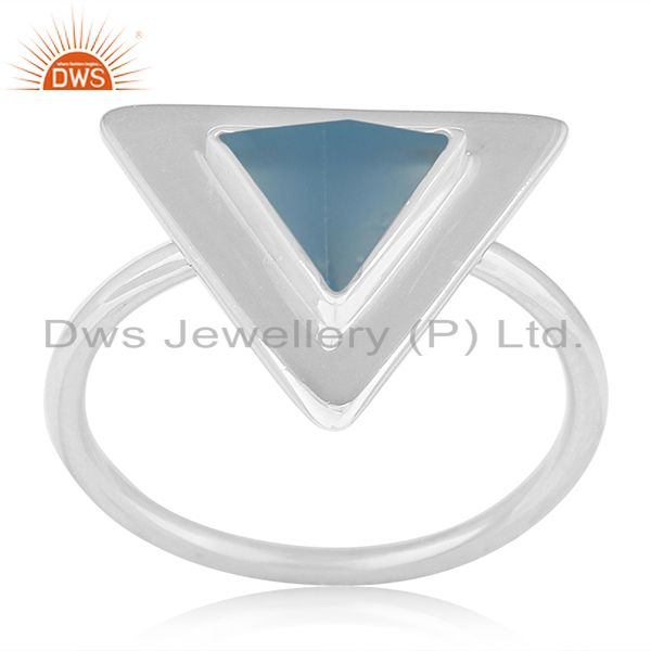 Blue Chalcedony Gemstone Triangle Shape Sterling Silver Custom Ring Manufacturer