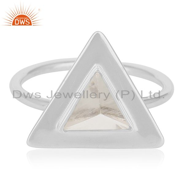 Clear Crystal Quartz Triangle Design 925 Silver Ring Jewelry