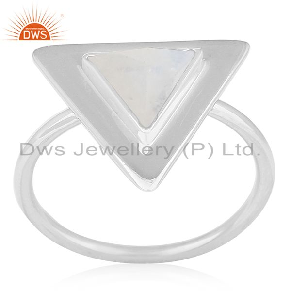 Rainbow Moonstone Sterling Silver Triangle Custom Ring Manufacturer