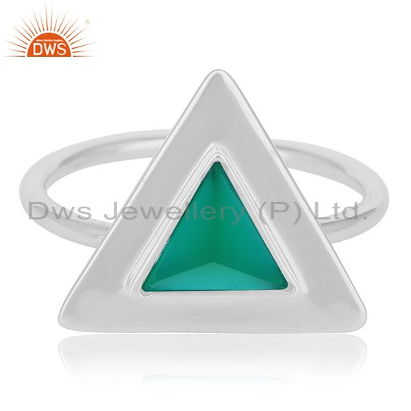 Green Onyx Bezel Set Gemstone 92.5 Silver Ring Jewelry Manufacturer