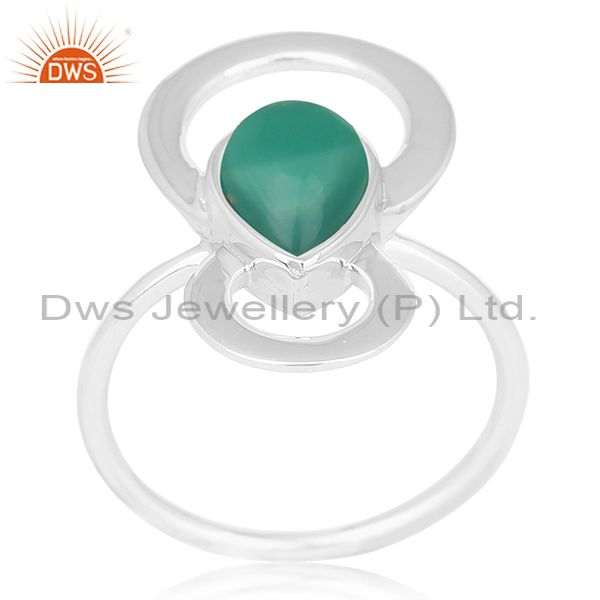 Indian Handmade 925 Sterling Silver Green Onyx Gemstone Designer Ring Wholesale