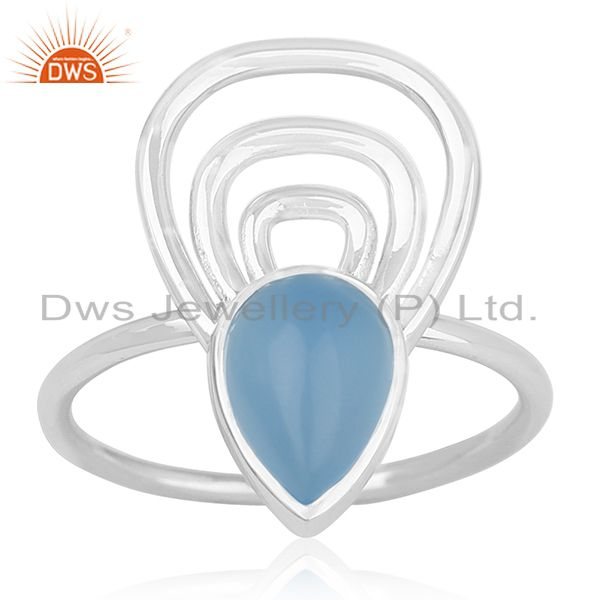 Blue Chalcedony Gemstone 925 Silver Ring Wholesale Supplier India