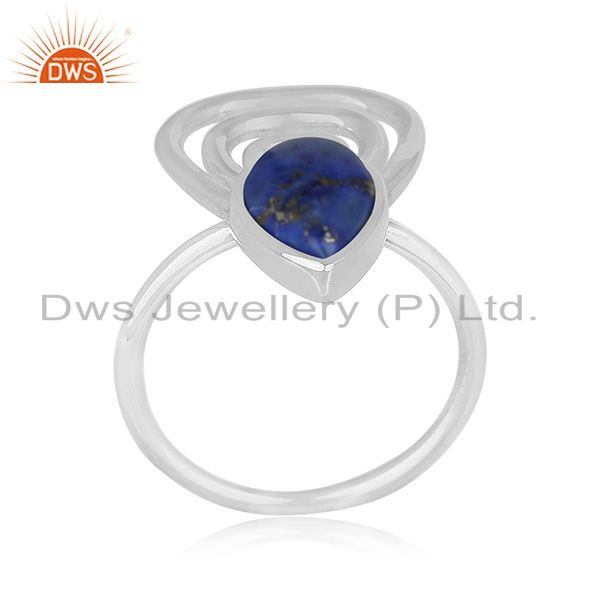 Lapis Lazuli Gemstone 925 Silver White Rhodium Plated Ring Jewelry