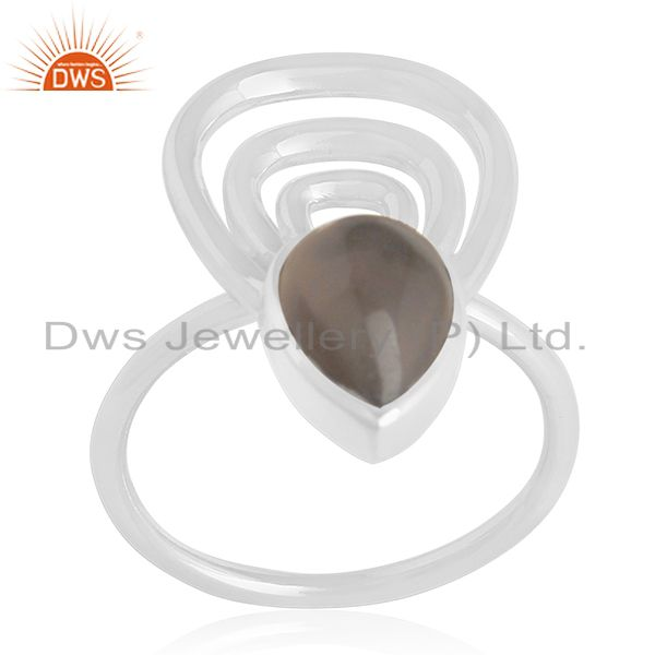 Smoky Quartz 925 Sterling Silver Designer Ring Custom Jewelry Supplier