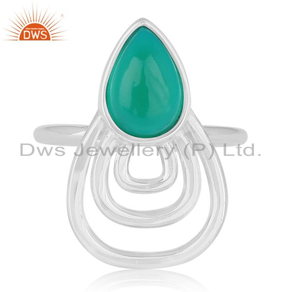 Green Onyx Gemstone 925 Sterling Silver Private Label Ring Wholesale