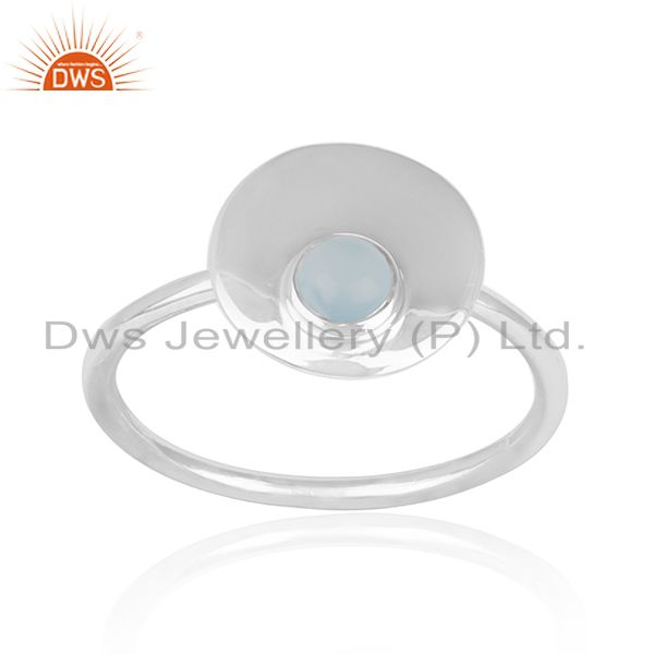 Simple Design 925 Sterling Silver Chalcedony Gemstone Ring Wholesale
