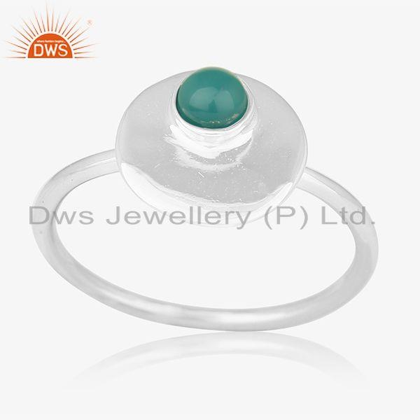 925 Sterling Silver Green Onyx Gemstone Handmade Ring Jewelry Manufacturers