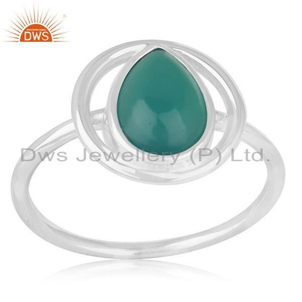 New Design Sterling Silver Green Onyx Gemstone Ring Jewelry Wholesale