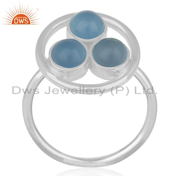 Blue Chalcedony Gemstone 925 Sterling Silver Round Circle Ring Manufacturer
