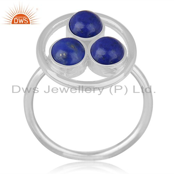 Lapis Lazuli Gemstone 925 Sterling Silver Round Circle Ring Manufacturer India