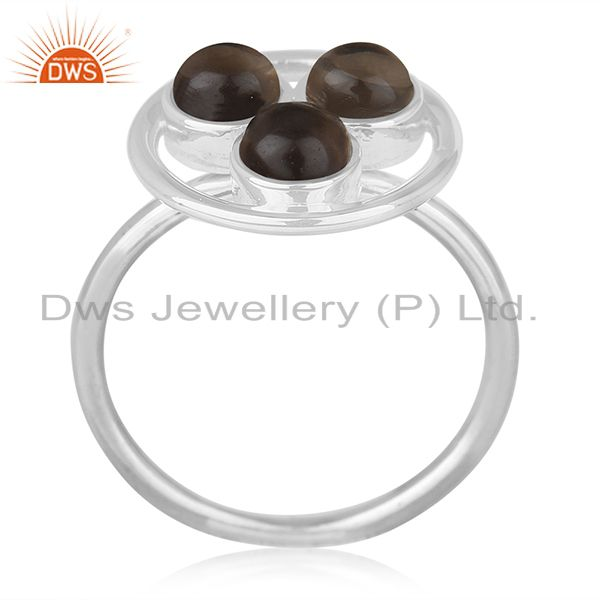 Handmade Sterling 925 Silver Smoky Quartz Gemstone Ring Manufacturer India