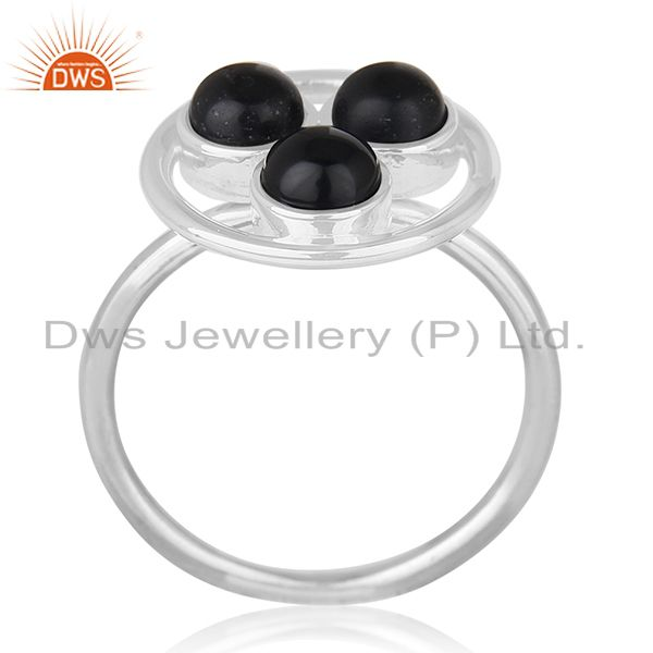 Black Onyx Gemstone Handmade Sterling Silver Circle Cocktail Ring Manufacturer