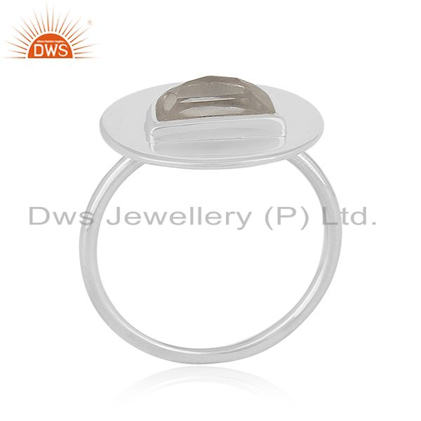 Plain 925 Sterling Silver Crystal Quartz Ring Manufacturer of Jewelry