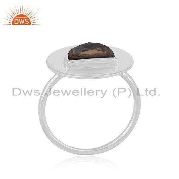 Smoky Quartz Handmade Fine Sterling Silver Ring Manufacturer