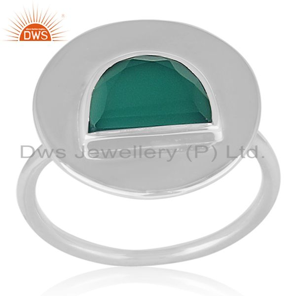 D Shape Green Onyx Gemstone Sterling Silver Ring Jewellery Wholesale
