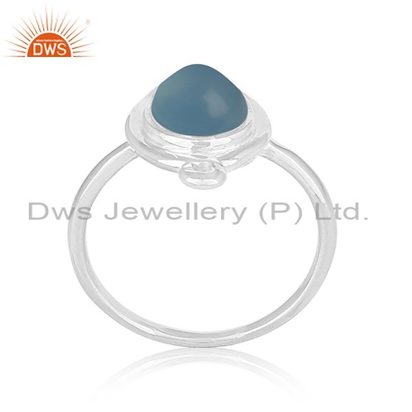 Handmade Sterling Silver Blue Chalcedony Gemstone Ring Jewelry