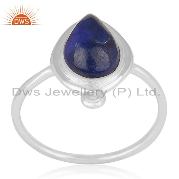 Natural Lapis Lazuli Gemstone 925 Silver Ring Jewellery Wholesale