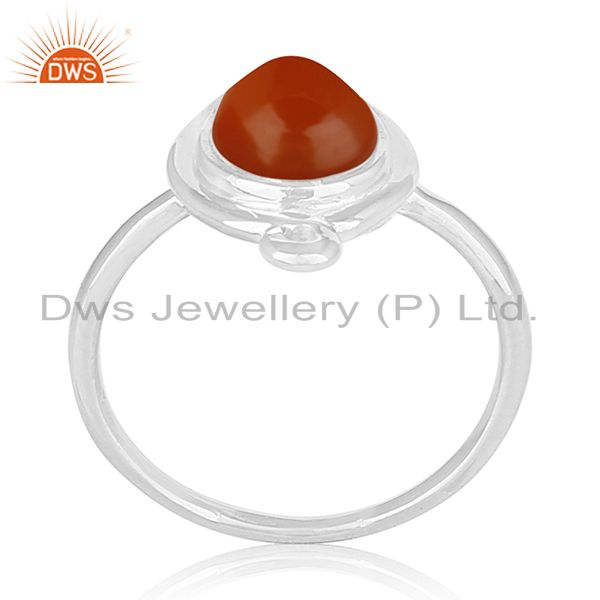 Red Chalcedony Gemstone 925 Silver Ring Private Label Jewellery