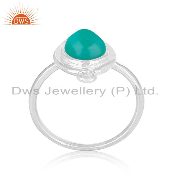 Green Onyx Gemstone Sterling Silver Designer Ring Manufacturer Jaipur