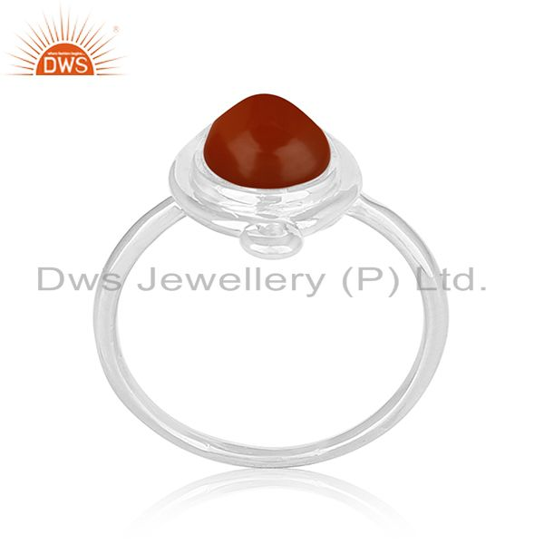 Red Onyx Gemstone 92.5 Silver Ring Private Label Jewelry Manufacturers