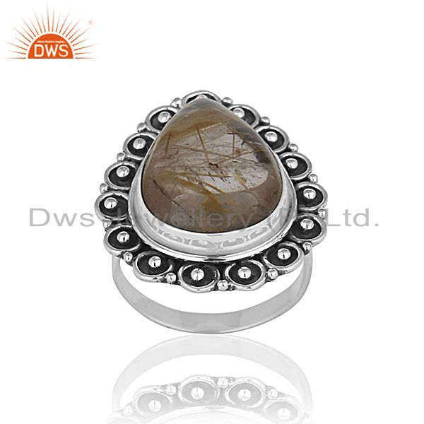 Oxidized 925 Silver Rutile Quartz Gemstone Cocktail Ring Manufacturer