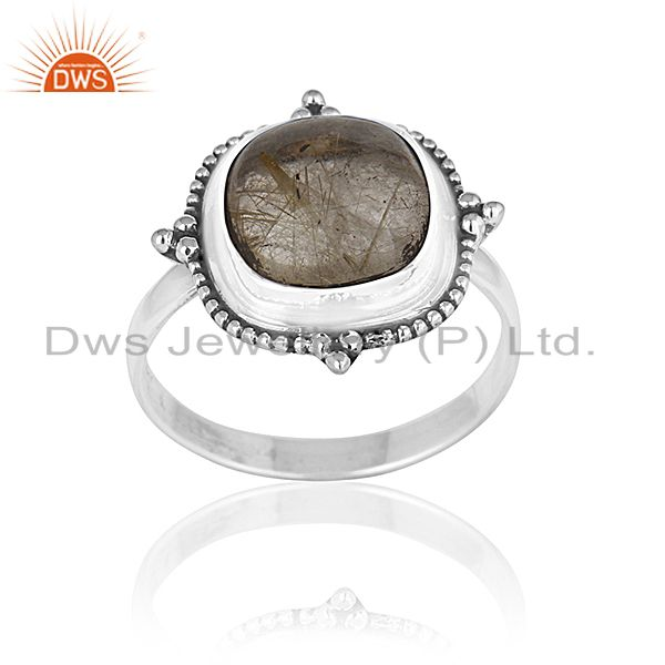 Golden Rutile Gemstone Oxidized 925 Silver Ring Manufacturer for Designers India