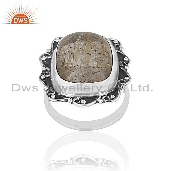 Black Oxidized Sterling Silver Rutile Gemstone Ring Wholesale Silver Jewelry