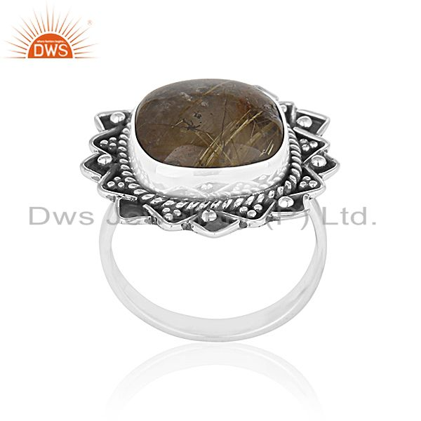 Black Oxidized 92.5 Silver Golden Gemstone Cocktail Ring Jewelry Manufacturer