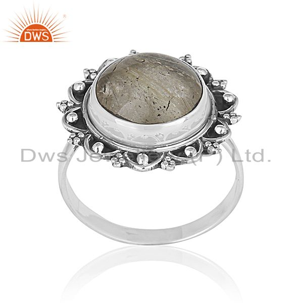 Handcrafted 925 Sterling Silver Golden Gemstone Custom Ring Jewelry Manufacturer