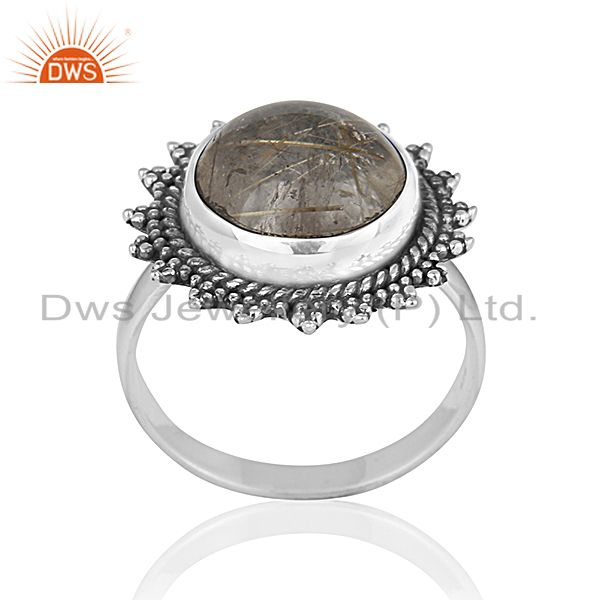 Genuine Antique Silver Golden Rutile Gemstone Private Label Ring Manufacturer