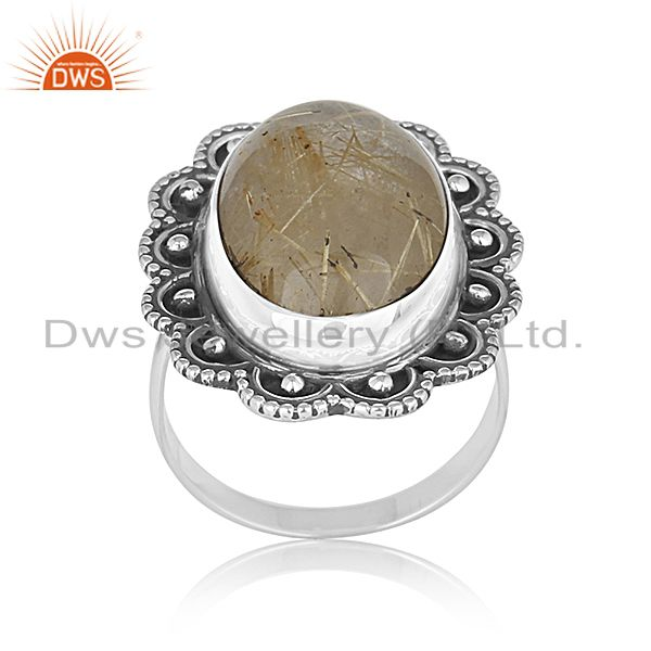 Oxidized Silver Golden Gemstone Private Label Ring Jewelry Manufacturer India