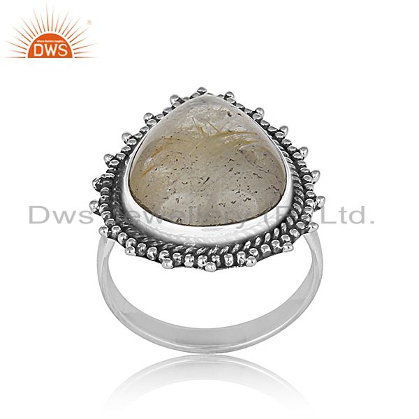 Golden Rutile 925 Silver Oxidized Custom Ring Jewelry Manufacturer from India