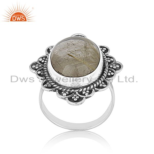 Golden Gemstone 925 Silver Ring Jewelry Manufacturer for Designer From India