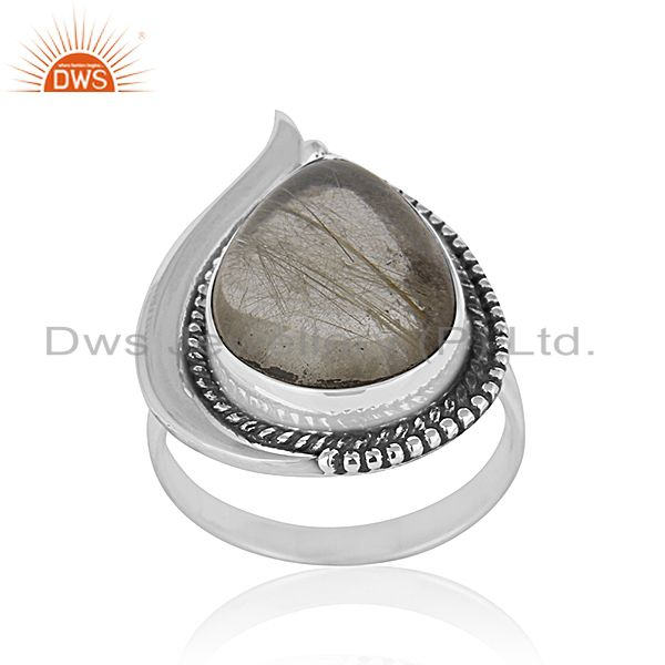 Golden Rutile Gemstone 925 Silver Oxidized Ring Manufacturer