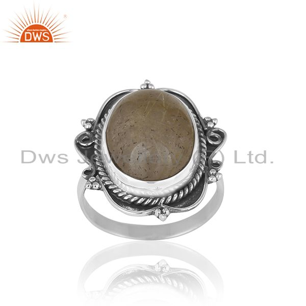 Golden Rutile Gemstone 925 Silver Ring Jewelry Manufacturer for Brands