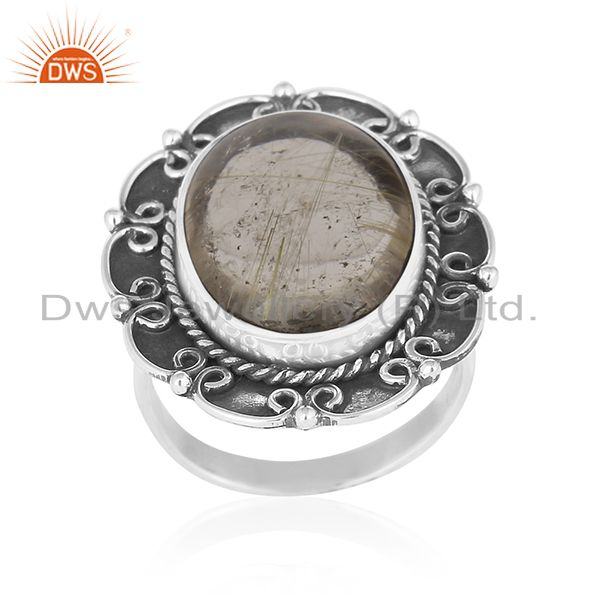 Oxidized 92.5 Silver Golden Rutile Gemstone Ring Manufacturer for Designers