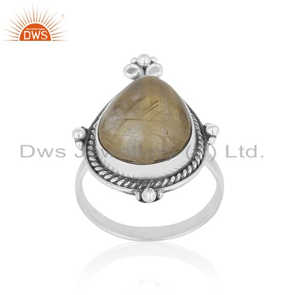 Genuine Golden Rutile Gemstone Sterling Silver Custom Ring Jewelry Manufacturer