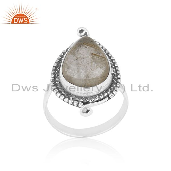 Natural Golden Rutile Gemstone Sterling Silver Private Label Ring Manufacturer
