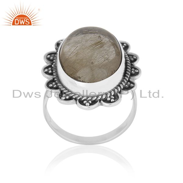 Natural Golden Rutile Quartz Gemstone 925 Silver Oxidized Ring Manufacturers