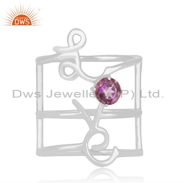 Amethyst Birthstone Love Initial 925 Silver Custom Ring Manufacturers