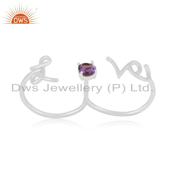 Amethyst Gemstone 925 Silver Love Initial Double Finger Ring Wholesale
