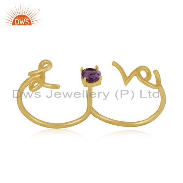 Amethyst Gemstone 925 Silver Love Initial Gold Plated Double Finger Ring