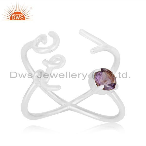 Initial Love 925 Silver Amethyst Gemstone Ring Jewelry Manufacturer