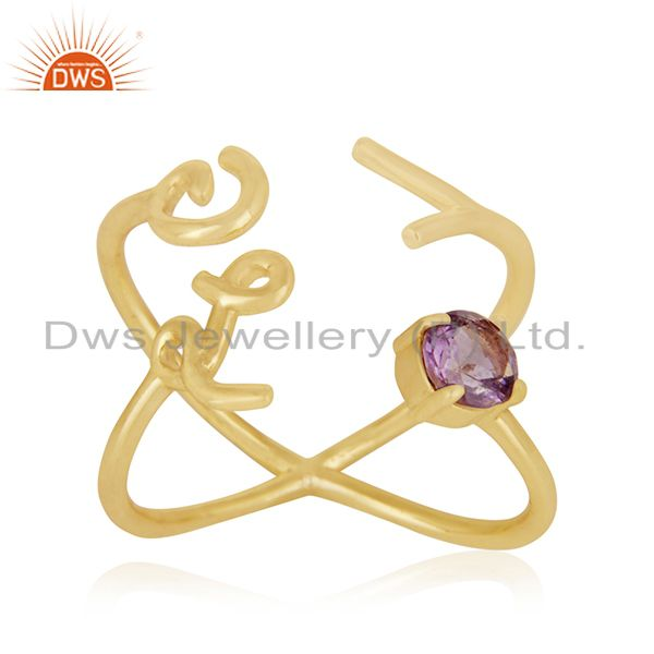 Initial Love Gold Plated 925 Silver Amethyst Gemstone Ring Suppliers