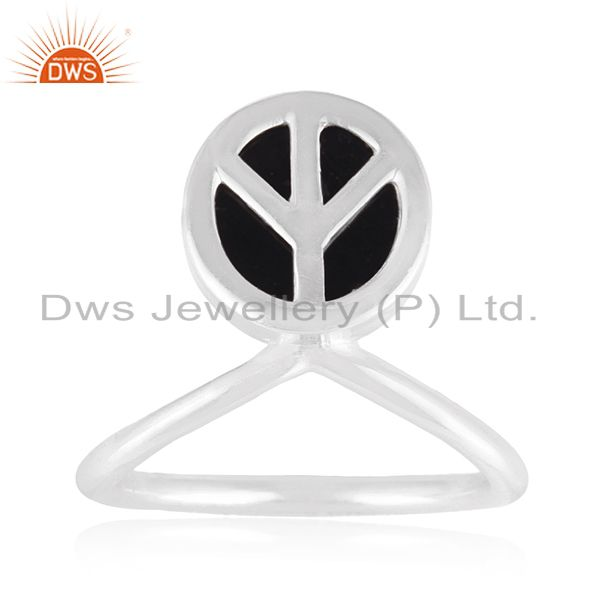 Custom Peace Sign Sterling Fine Silver Onyx Gemstone Ring Manufacturer