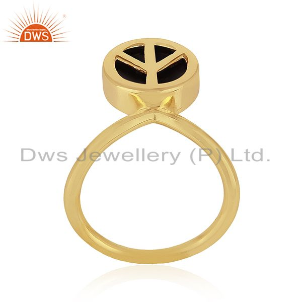Peace Sign Gold Plated Sterling Silver Black Onyx Gemstone Charm Ring Wholesale